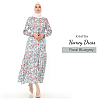 Homey Dress Floral Bluegrey